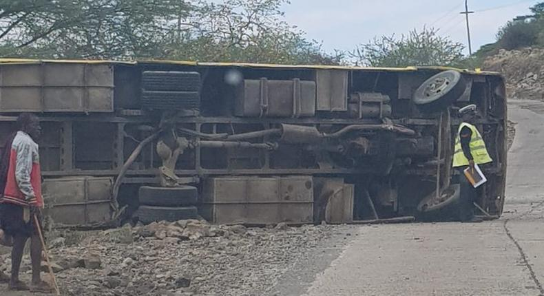 Oloika Primary School bus with 46 pupils and 4 teachers overturns, kills 2 pupils injures scores along Magadi-Kiserian Road