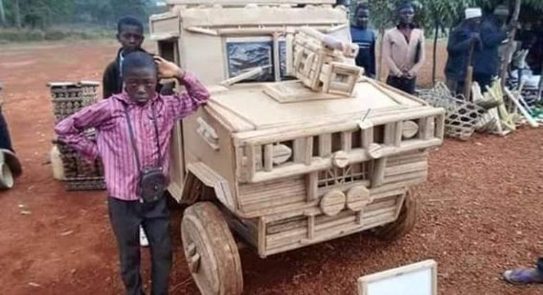 Car built out of cartons