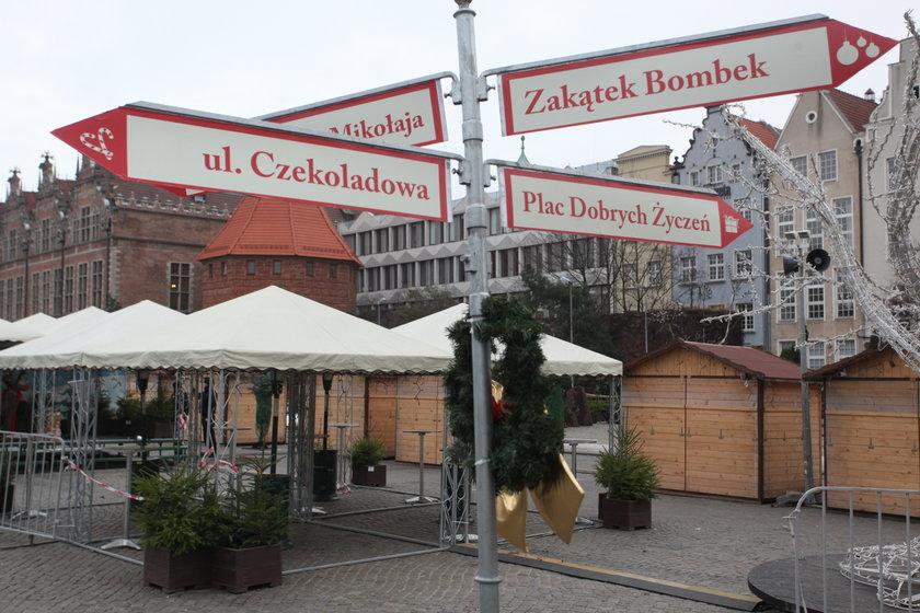 Drogowskaz dla uczestników jarmarku w Gdańsku