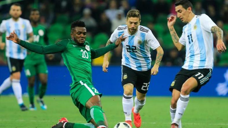 Nigeria and Argentina during a friendly match in Russia