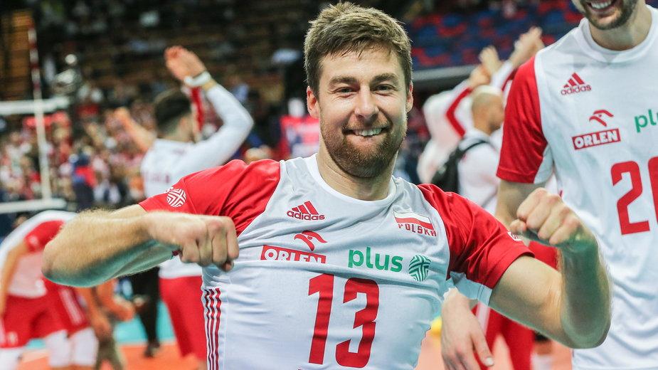 Michał Kubiak i jego radość po wywalczeniu brązowego medalu ME siatkarzy