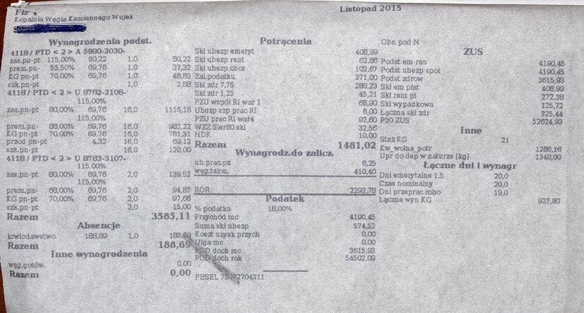 Średni zarobek w KWK Wujek 2200 zł