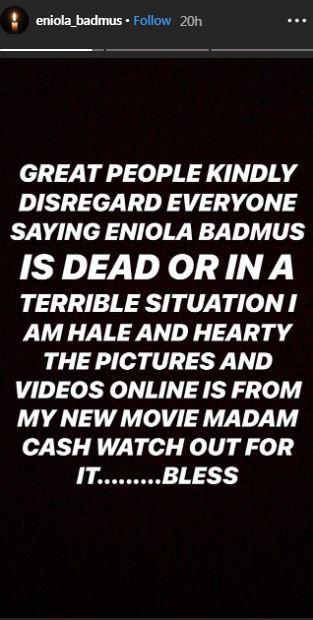 Eniola Badmus debunks rumours of her death [Instagram/EniolaBadmus]
