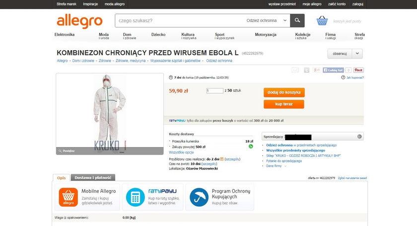 W sieci można kupić kombinezony przeciw eboli