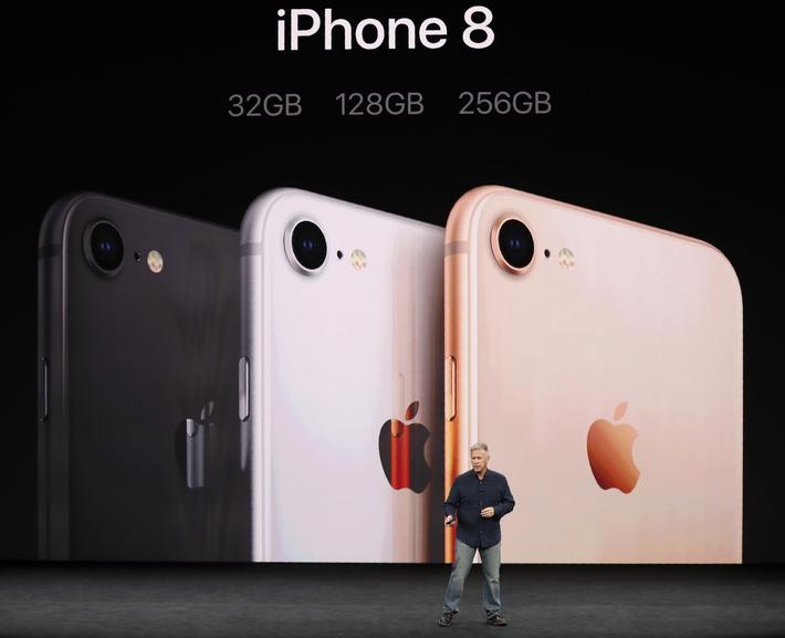 Apple's Schiller introduces the iPhone 8 during a launch event in Cupertino