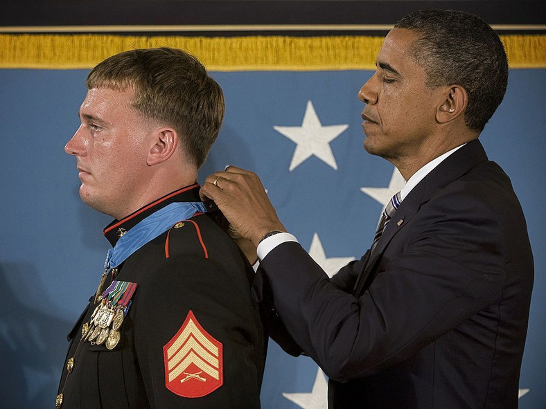 September, 15, 2011. President Obama awards the Medal of Honor to Meyer at a White House ceremony in Washington, DC.