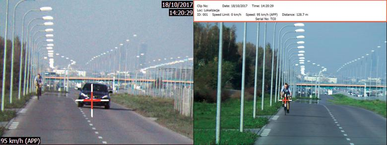 Operator mierzy prędkość jadącego szybko auta. Późniejnamierza... rower i na zdjęciu do pokazaniakierowcy widać... rower jadący 95 km/h!