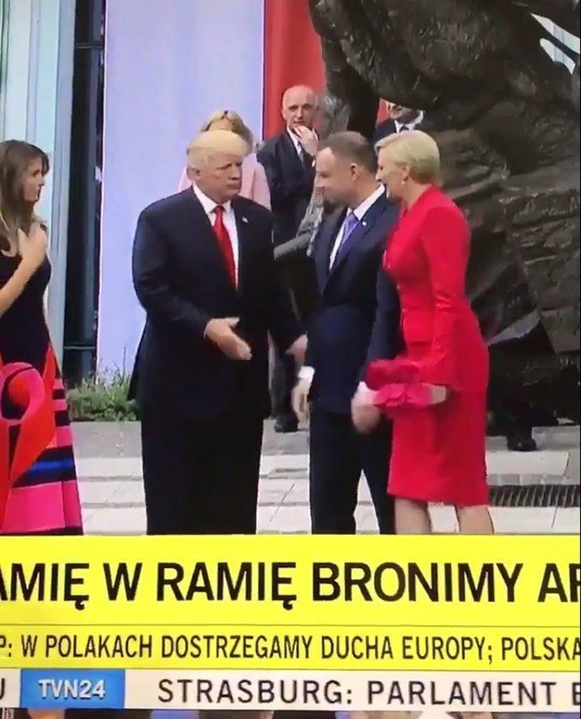 Wpadka z udziałem pary prezydenckiej. Wymowna mina Trumpa!