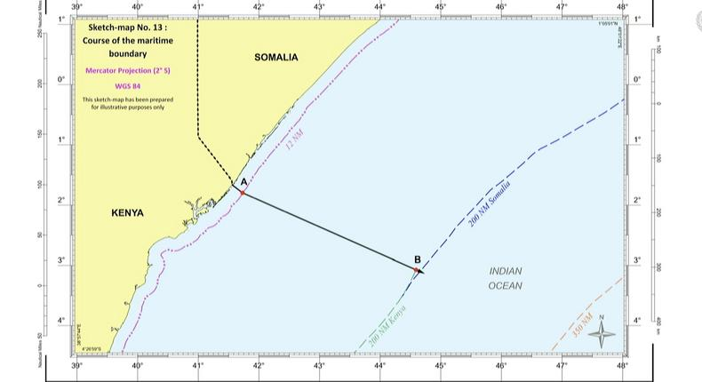 The International Court of Justice rules most of the disputed maritime territory in favour Somalia. This is the illustration depicting the boundary as decided by the Court.