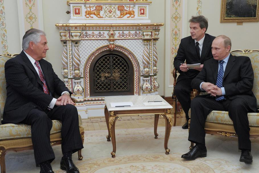Then Russian PM Putin and Exxon Mobil CEO Tillerson attend meeting at Novo-Ogaryovo state residence