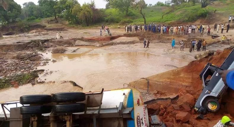 The collapsed bridge at Tatabu village along Mokwa-Jebba road in Kwara state