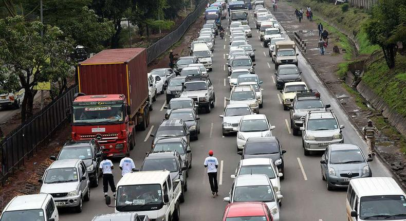 ]FILE PHOTO] Motorists held up in a traffic jam.