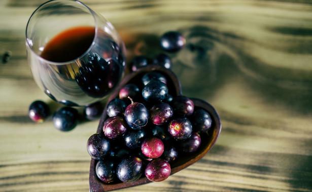 Czerwone wino i winogrona