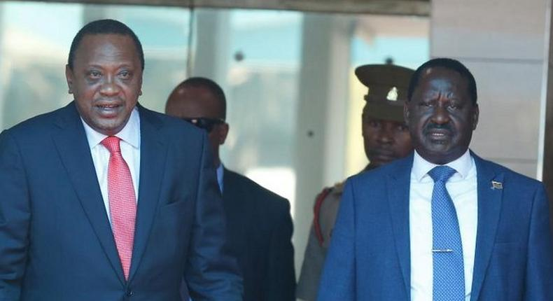 President Uhuru Kenyatta and Orange Democratic Movement (ODM) party leader Raila Odinga
