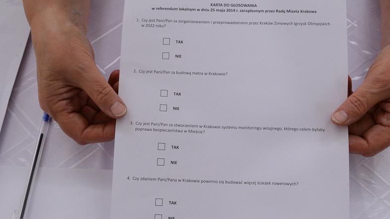 Karta do głosowania w Obwodowej Komisji ds. Referendum nr 47. Mieszkańcy Krakowa uczestniczą 25 bm. w lokalnym referendum, w którym wypowiadają się czy chcą organizacji Zimowych Igrzysk Olimpijskich w Krakowie