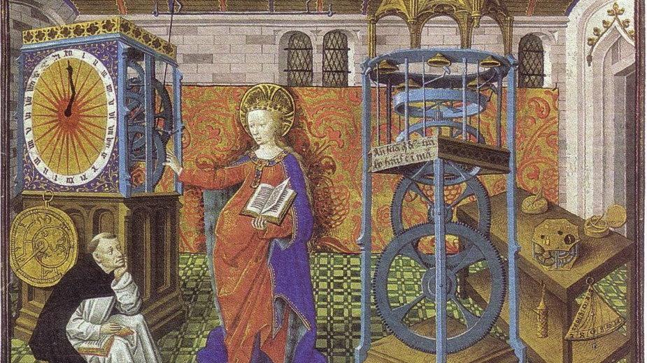 Zegar z XV wieku (Miniature de Horologium Sapientae, domena publiczna)
