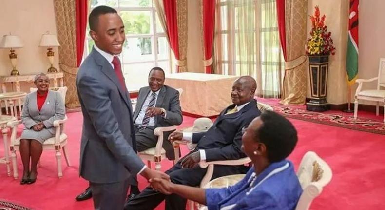 Muhoho Kenyatta, President Uhuru Kenyatta's son greets Uganda's First Lady Janet Museveni during a past state visit at State House Nairobi