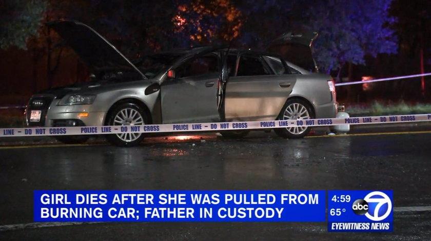 Ojciec skuł i spalił córeczkę w samochodzie
