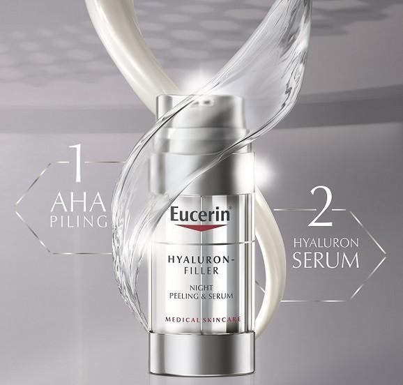 Eucerin Hyaluron-Filler Noćni intenzivni serum pruža blagi piling i podstiče regeneraciju kože