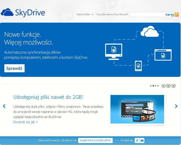 SkyDrive. Fot. Screen z ekranu