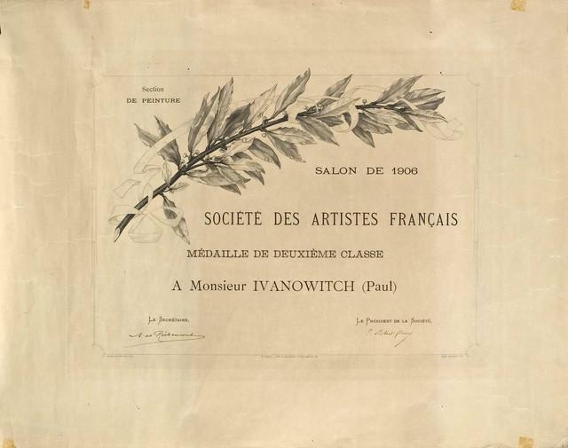 Diploma udruženja francuskih umetnika, Pariz 1906.