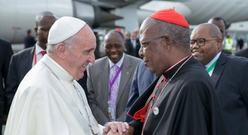 File image of Pope Francis with John Cardinal Njue during his last visit to Kenya