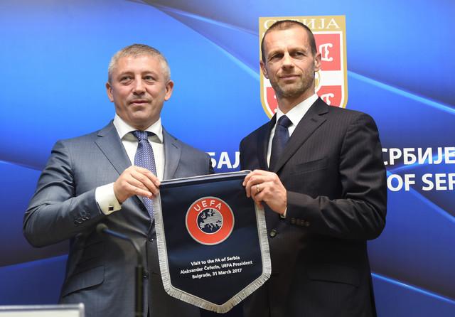 Predsednici FSS-a i UEFA, Slaviša Kokeza i Aleksander Čeferin