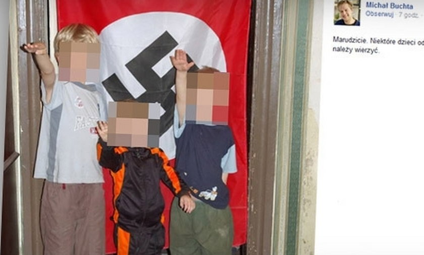 Wrzucił zdjęcia dzieci na tle swastyki