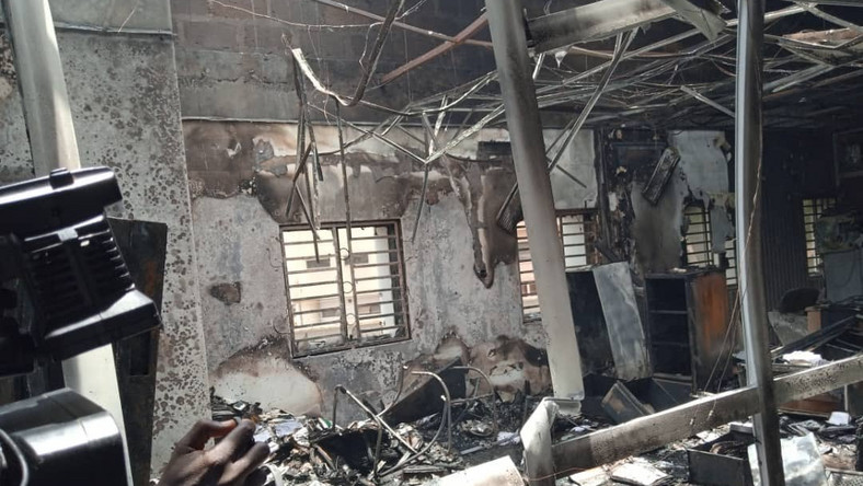 INEC says the fire did not cause any substantial damage to the building [INEC]