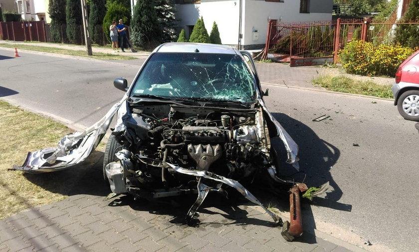 wypadek na ulicy Rojnej w Łodzi