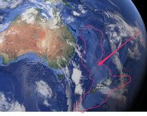 Nad powierzchnię wody wystają Nowa Zelandia i Kaledonia