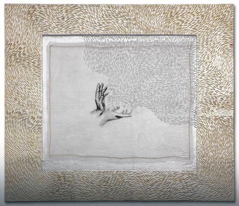 Ruke koje zrače, komb. teh,100x88x4cm, 2016.