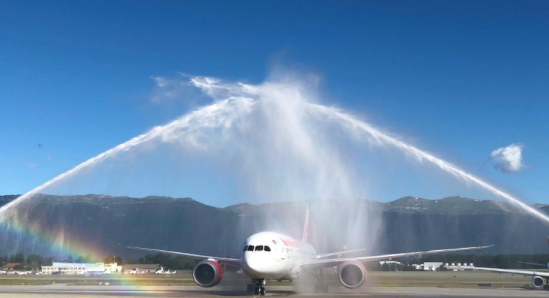 Kenya Airways at a past event being welcome with a water canon salute.