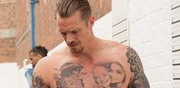 Znany aktor ma zdumiewające tatuaże. Wiersz, mały powstaniec i orzeł bez korony