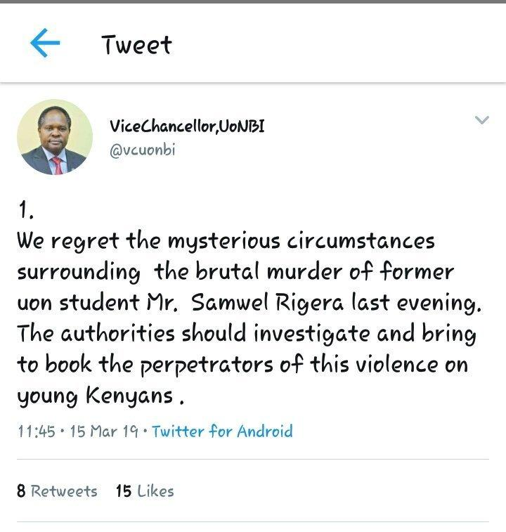 Anger over Vice Chancellor Prof Peter Mbithi's tweet on death of former UoN student leader OCS Ragira