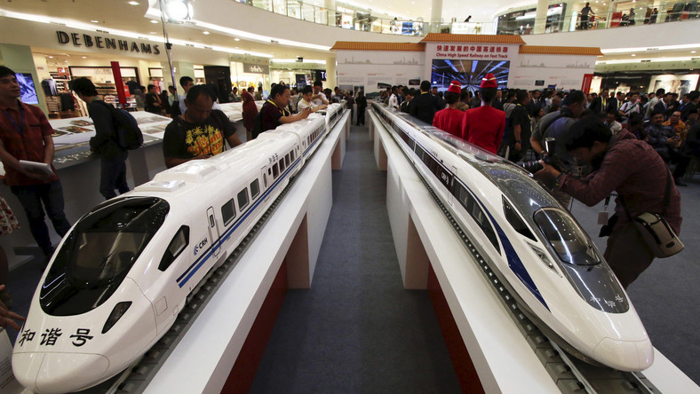 Models of high speed trains are seen during the China High Speed Railway on Fast Track exhibition in Jakarta.