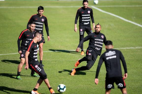 Fudbaleri Čilea na treningu