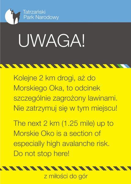 Droga do Morskiego Oka, ostrzeżenia przeciwlawinowe
