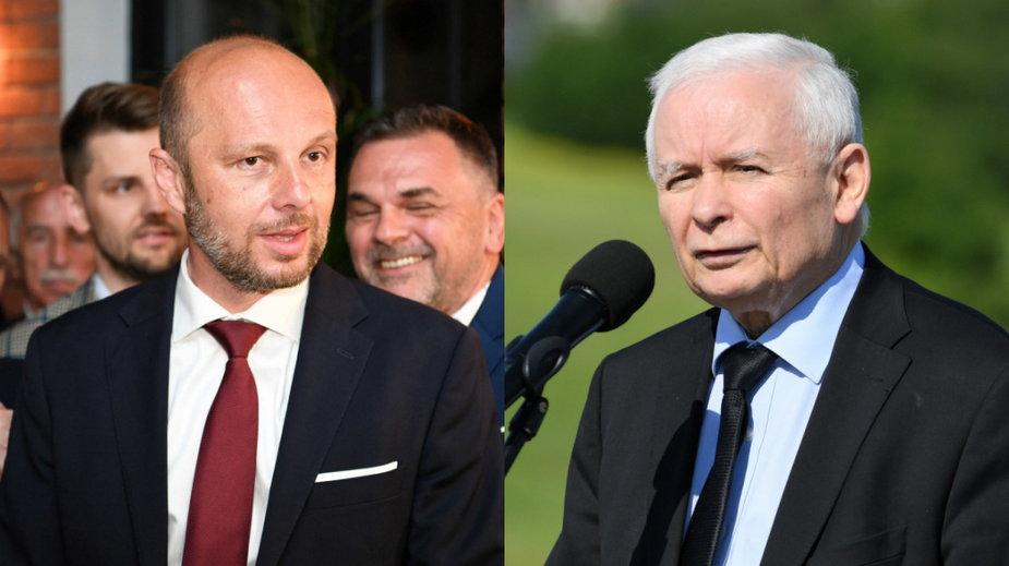 Konrad Fijołek (L) i Jarosław Kaczyński (P)