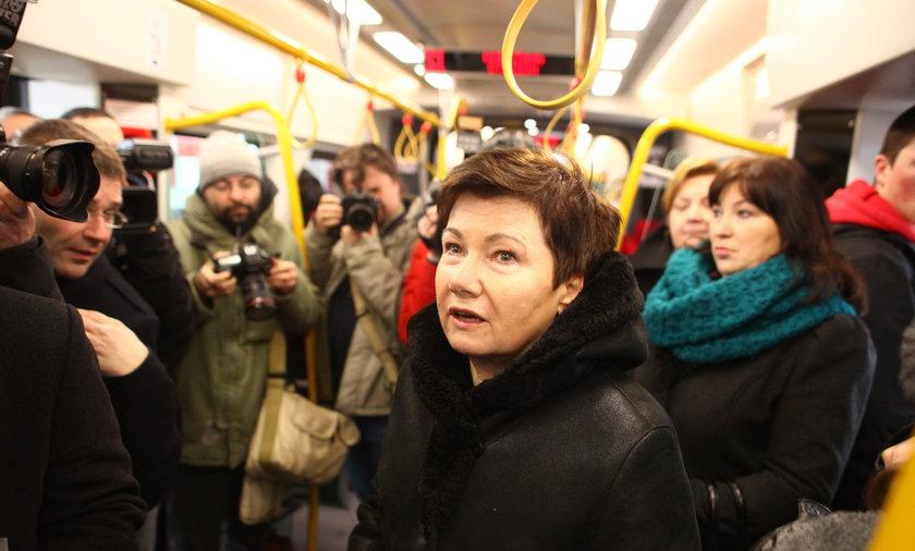 Hanna Gronkiewicz Waltz w nowym pociągu SKM