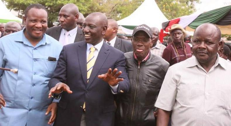 File image of Bumula MP Mwambu Mabonga, Deputy President Dr William Ruto, Dr Boni Khalwale and Mumias East MP Benjamin Washiali at a fundraiser in May 2019
