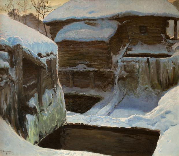 """Ferdynand Ruszczyc, """"Młyn zimą"""""""