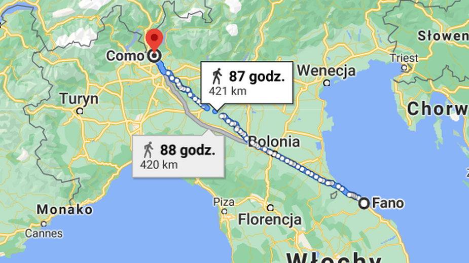 Trasa, którą przebył Włoch
