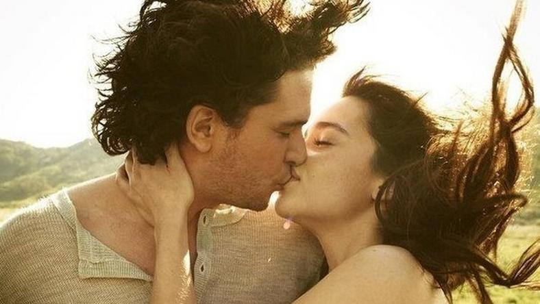 Kit Harrington and Emilia Clarke kiss during a photo shoot in 2012
