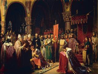Louis VII takes the banner in the Basilica of Saint -Denis, 1147 by Jean Baptiste Mauzaisse