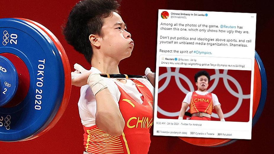 """Chińczycy oburzeni zdjęciem swojej sztangistki. """"Wstyd!"""" (fot. Twitter/@ChinaEmbSL)"""