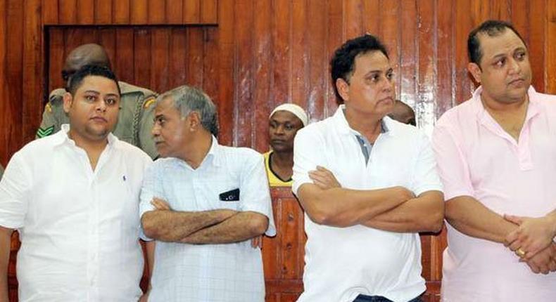From left, Ibrahim Akasha Abdalla, Gulam Hussein, Vijaygiri Anandgiri Goswami and Baktash Akasha Abdalla follow proceedings in their case on December 13, 2016.