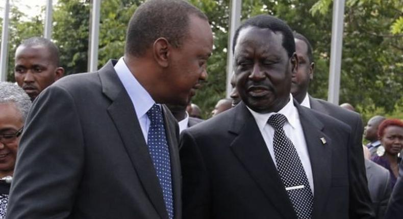 President Uhuru Kenyatta (left) and NASA leader Raila Odinga. Latest IEBC data show Jubilee and NASA are locked in a tight contest ahead of the August Elections.