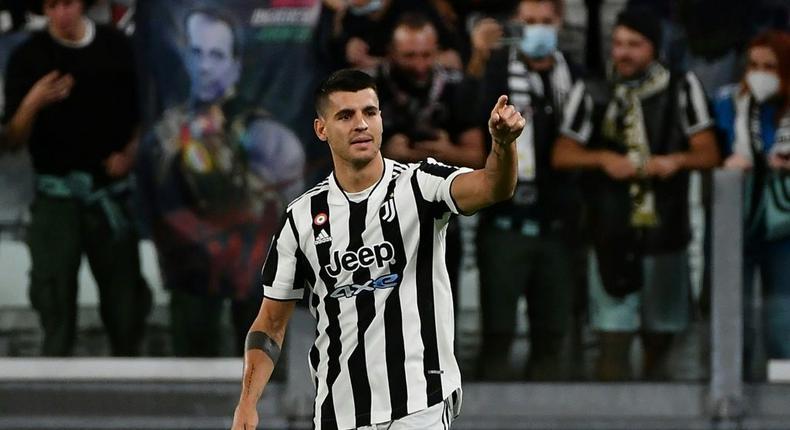Early strike: Juventus forward Alvaro Morata celebrates his fourth-minute opener Creator: Isabella BONOTTO