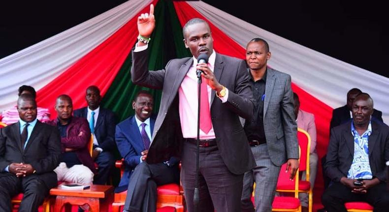 File image of South Mugirango MP Sylvanus Osoro speaking during a past political function attended by DP Ruto
